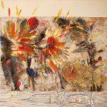 Hong Liu-Sertti, Rock-acient-poems-1, mixed media on ricepaper on canvas, 60x80cm, 2020